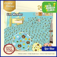 Nutty Nut Bed Cover Set Katun CVC GC - 180x200x30 King - Line Blue