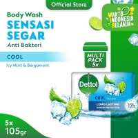 Dettol Sabun Batang Cool 105gr - Isi 5 - Anti Kuman - Sensasi Menthol