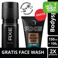 Axe Deo Body Spray Black 150Ml Free White Polished Scrub 100G