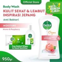 Dettol Bodywash Peach 950gr [FREE Sanitizer NEW + Wipes Original 10s]