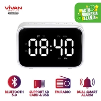 Speaker Bluetooth 5.0 VIVAN Dual Smart Alarm Clock, SD Card, AUX VS5