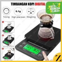 Timbangan Kopi 3kg dengan Timer Barista LED Hitam Mesin Coffeshop Cafe