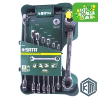 8 Pcs Kunci Ring Pas Ratchet SET Wrench Combination 08007A SATA TOOLS