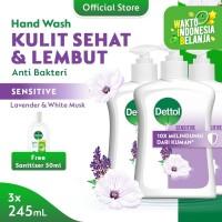 Dettol Hand Wash Pump Sensitive 245ml (3pcs) FREE Sanitizer 50ml