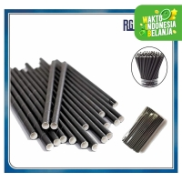 Sedotan KERTAS HITAM Polos / Black Steril Paper straws Party