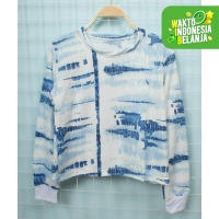 FortKlass LADIES AQUA Sweater Crop Basic Wanita Motif TIE DYE