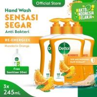 Dettol Hand Wash Pump Re-energize 245ml (3pcs) FREE Sanitizer 50ml