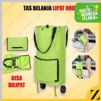 Tas Belanja Lipat Roda Foldable Polos Hijau Dompet Tote Go Green Big