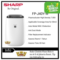 SHARP AIR PURIFIER FP-J40Y-W [Coverage Area for 30 m²]