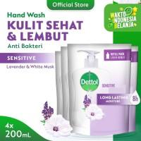 Dettol Sabun Cuci Tangan Sensitive 200ml x 4pcs Refill