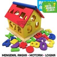 Mainan Edukasi Anak Rumah Angka Kayu Geometri Bentuk Warna Shape 123