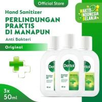 Dettol Hand Sanitizer Original 50 ml Screw Cap Bottle - 3 Pcs
