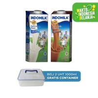 Susu Indomilk UHT 1 Liter Plain + Coklat free Container Box