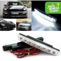 Lampu Fog Lamp Daytime Running Light DRL Mobil 8 LED 6000K 12V 1Pcs