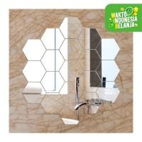 Stiker Kaca Dekorasi Cermin Mirror Wallpaper SegiEnam Heksagon 7pcs S