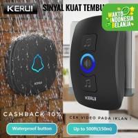 KERUI Wireless Doorbell Waterproof Bel Pintu rumah kantor Sensor - Hitam