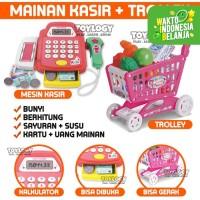 Mainan Mesin Kasir Cash Register Shopping Trolley Cart Belanja 2in1