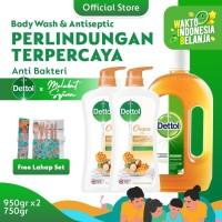 Dettol Antiseptic+Body Wash Honey 950gx2 FREE Melekat Sejiwa Lahap Set