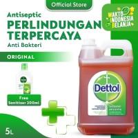 Dettol Cairan Antiseptik 5 Liter FREE Sanitizer 200ml