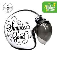 Helm Bogo Retro JMC Motif Simple Is Good Putih SNI