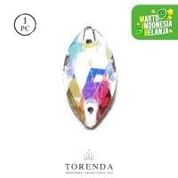 Batu Torenda Ceko Payet Kristal Jahit Size 7x15mm Aurore Boreale/pcs
