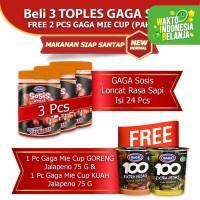 GAGA Sosis Loncat Sapi 3 toples GRATIS 2 pcs Mie Cup Jalapeno (kode42)