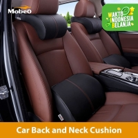 Mobeo Bantal Mobil Penyangga Punggung / Leher Kulit Premium Car Pillow