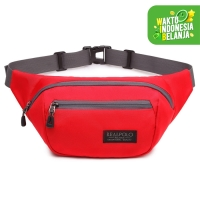 Real Polo Tas Pinggang Waist Bag IBF - Tas Pria Tas Wanita - Crossbody - Merah
