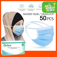 Masker Headloop Hijab 3 Ply 3Ply Face Mask anti Debu Virus isi 50 Pcs