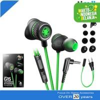 Plextone G15 Stereo Earphone Headset Mic Gaming PUBG ML FF Hijau