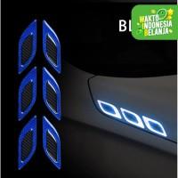 Stiker Carbon Dekorasi Exterior Reflektor Mobil Nyala Warning Sign 6pc