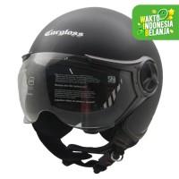Helm Cargloss YR Ghotic Half Face - Deep Black SG ( Doff )