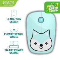 Mouse Wireless ROBOT M220 Brown Bear Optical Receiver USB DPI - Biru Muda