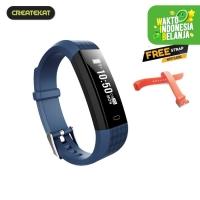 Createkat Smart Band Heart Rate Monitor Smartwatch Gelang Pintar - Biru