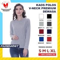 Faremost Kaos Polos Wanita Lengan Panjang V-Neck Combed 30s