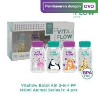 [NEW] VITAFLOW Botol ASI 3in1 PP 140ml 1 Paket 4 pcs Animal