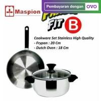 Maspion Panda Set Fit B Dutch Oven 18cm + Frypan 20cm Stainless Set