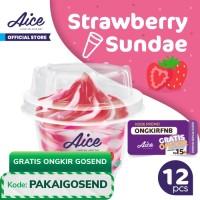 Paket Aice Ice Cream Strawberry Sundae Cup Es Krim (isi 12 pcs)