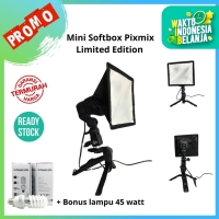 Softbox Mini + Lampu Foto 45 watt Limited edition - Tripod Gunpod
