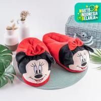 ARAMI Minnie Mouse Cotton Slipper With Rubber Sol | Sendal Kamar Anak