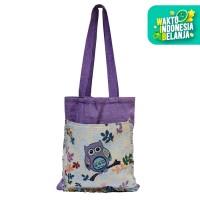 The KiliSuci Batik & Craft Mini Totebag Tenun Motif Owl Ungu 1 - Ungu