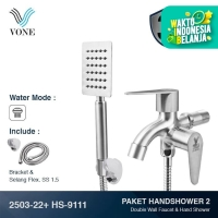 VONE 2503-22 + HS-9111 Paket Hand Shower 2 - Kran Cabang Stainless
