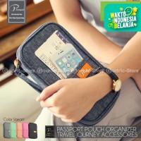 P.TRAVEL KOREAN Fabric Passport Cover Wallet Card Holder Organizer - Hitam