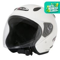 Helm Half Face YCN CR Cargloss Visor Hardcoat - White Met 6