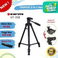 Tripod Kinfuto GT 358 - Tripod 2 in 1 Head terintegrasi holder HP