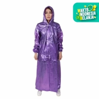 Jas Hujan Rok Polkadot Plevia ROK POP 870 Muslimah Perempuan Mantel - Ungu