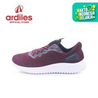 Ardiles Men Star Road Sepatu Running - Maroon Hitam