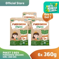 (Buy 1 Get 1) Paket 3 Box PUREGROW Organic - Susu 1-3 thn 360gr Girl