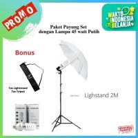 Pixmix Set LAMPU STUDIO FOTO LIGHTSTAND + HOLDER + PAYUNG + LAMPU