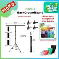 Background stand Model T Ukuran 2M x 2M Bonus Background kain 2M